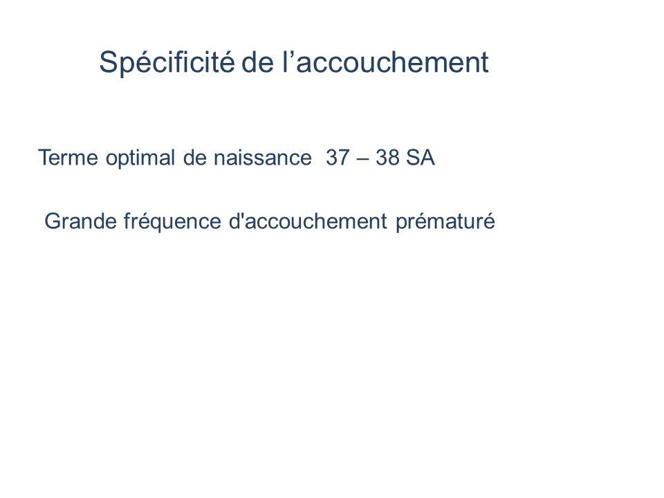 Spécificité de l'accouchement Terme optimal de naissance 37 – 38 SA Grande fréquence d'accouchement prématuré