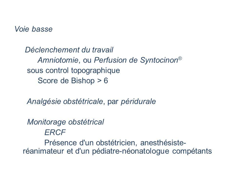 Voie basse Déclenchement du travail Amniotomie, ou Perfusion de Syntocinon ® sous control topographique Score de Bishop > 6 Analgésie obstétricale, pa