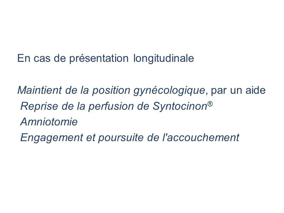 En cas de présentation longitudinale Maintient de la position gynécologique, par un aide Reprise de la perfusion de Syntocinon ® Amniotomie Engagement