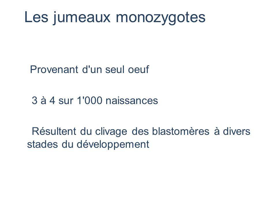 Les jumeaux monozygotes Provenant d'un seul oeuf 3 à 4 sur 1'000 naissances Résultent du clivage des blastomères à divers stades du développement