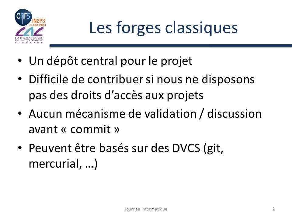 Exemple : Faire un Pull Request La forge sociale détecte une différence entre le fork et le dépôt initial du projet – Elle autorise le développeur à proposer un « pull request » Journée Informatique13