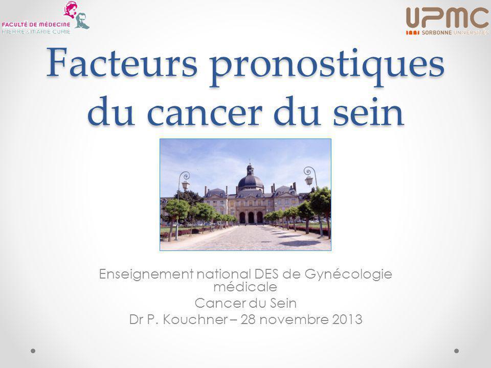Facteurs pronostiques du cancer du sein Enseignement national DES de Gynécologie médicale Cancer du Sein Dr P.