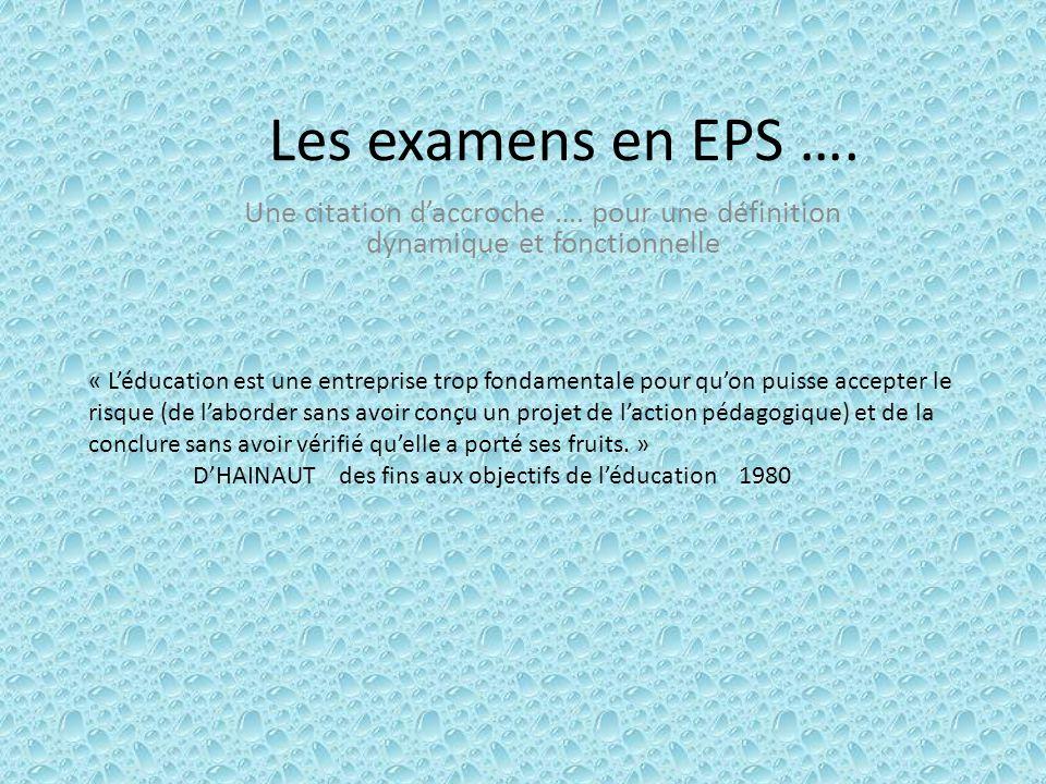 Les examens en EPS ….Une citation d'accroche ….