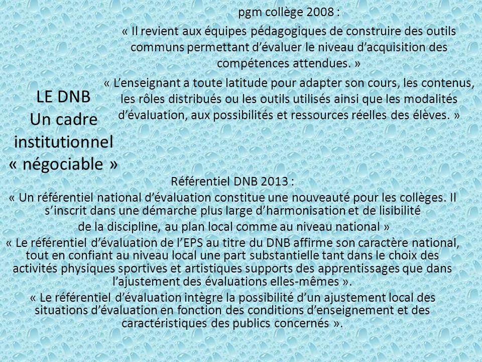 LE DNB Un cadre institutionnel « négociable » pgm collège 2008 : « Il revient aux équipes pédagogiques de construire des outils communs permettant d'évaluer le niveau d'acquisition des compétences attendues.