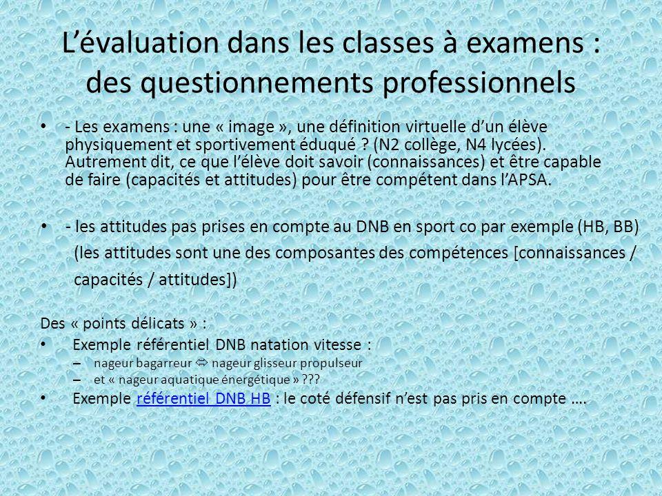 L'évaluation dans les classes à examens : des questionnements professionnels - Les examens : une « image », une définition virtuelle d'un élève physiquement et sportivement éduqué .