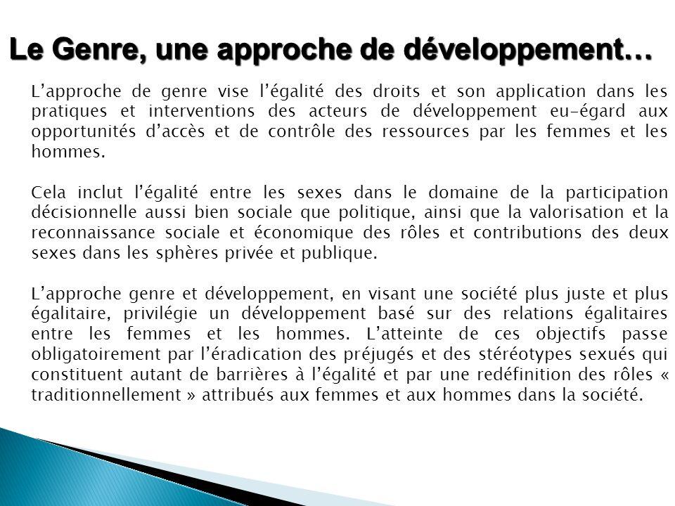Le Genre, une approche de développement… L'approche de genre vise l'égalité des droits et son application dans les pratiques et interventions des acte