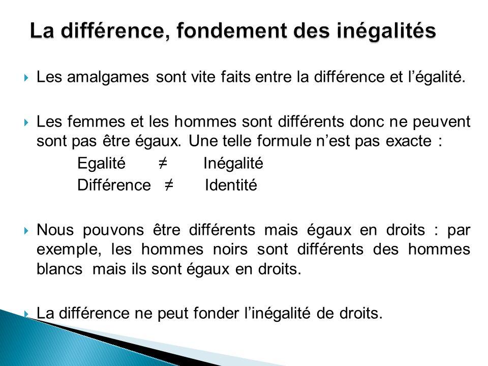  Les amalgames sont vite faits entre la différence et l'égalité.  Les femmes et les hommes sont différents donc ne peuvent sont pas être égaux. Une