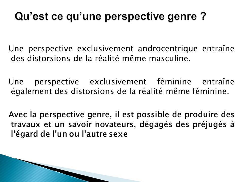 Une perspective exclusivement androcentrique entraîne des distorsions de la réalité même masculine. Une perspective exclusivement féminine entraîne ég