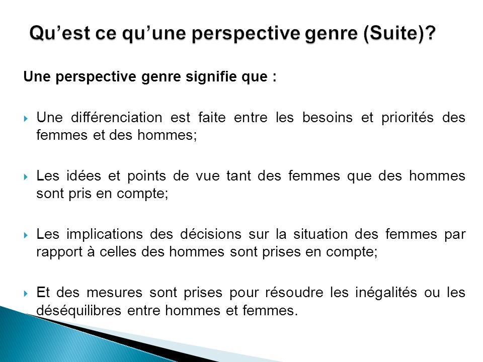 Une perspective genre signifie que :  Une différenciation est faite entre les besoins et priorités des femmes et des hommes;  Les idées et points de