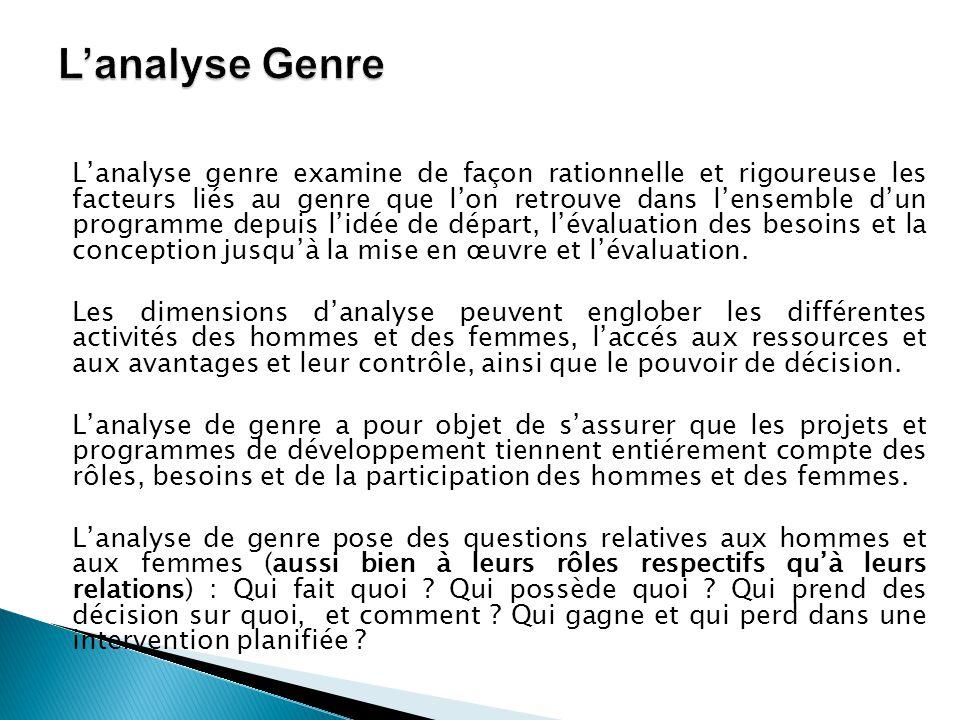 L'analyse genre examine de façon rationnelle et rigoureuse les facteurs liés au genre que l'on retrouve dans l'ensemble d'un programme depuis l'idée d