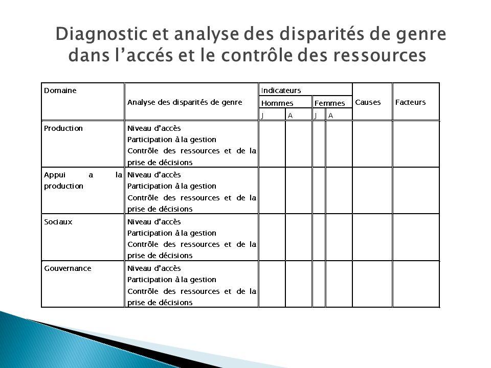 Diagnostic et analyse des disparités de genre dans l'accés et le contrôle des ressources