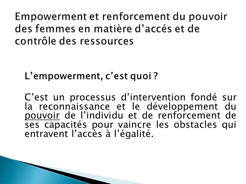 L'empowerment, c'est quoi ? C'est un processus d'intervention fondé sur la reconnaissance et le développement du pouvoir de l'individu et de renforcem