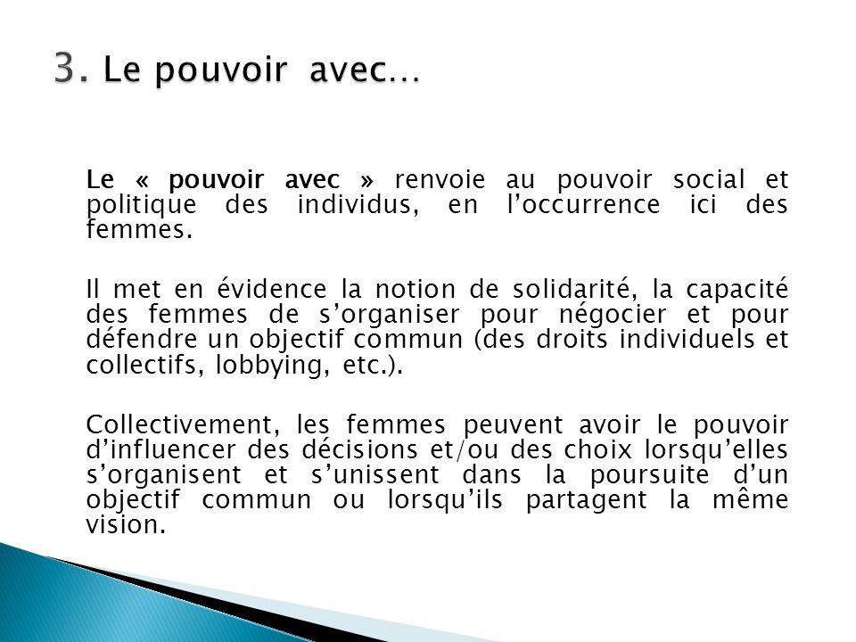 Le « pouvoir avec » renvoie au pouvoir social et politique des individus, en l'occurrence ici des femmes. Il met en évidence la notion de solidarité,