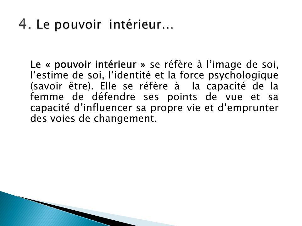 Le « pouvoir intérieur » se réfère à l'image de soi, l'estime de soi, l'identité et la force psychologique (savoir être). Elle se réfère à la capacité