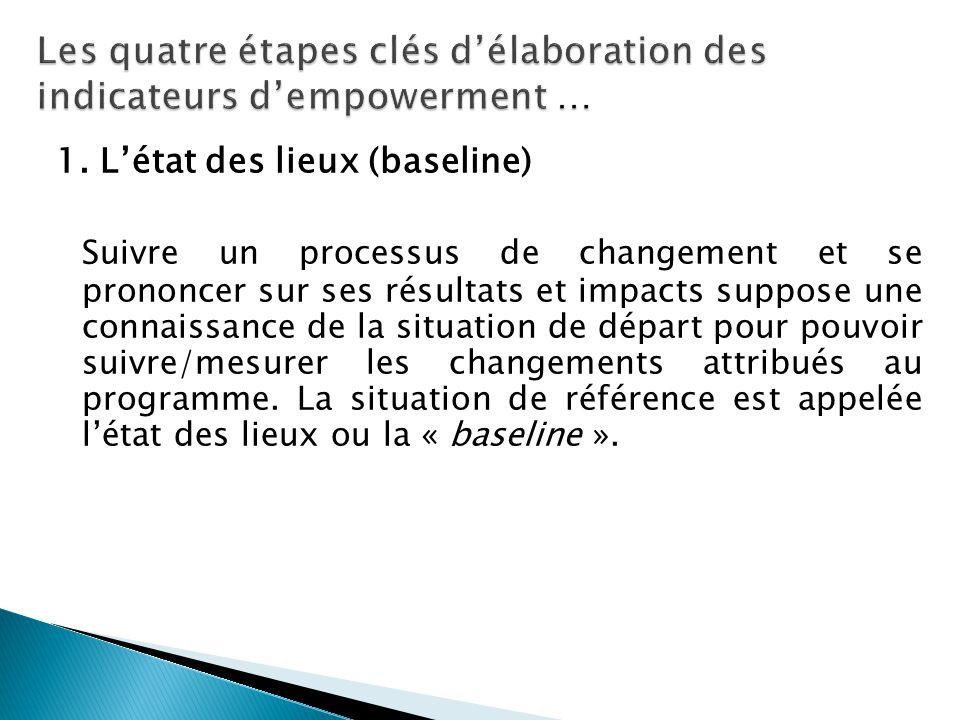 1. L'état des lieux (baseline) Suivre un processus de changement et se prononcer sur ses résultats et impacts suppose une connaissance de la situation