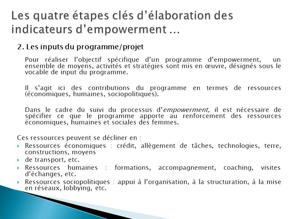 2. Les inputs du programme/projet Pour réaliser l'objectif spécifique d'un programme d'empowerment, un ensemble de moyens, activités et stratégies son