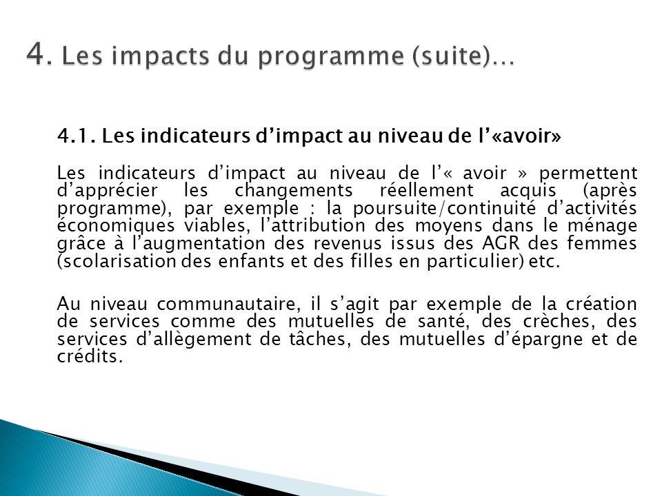 4.1. Les indicateurs d'impact au niveau de l'«avoir» Les indicateurs d'impact au niveau de l'« avoir » permettent d'apprécier les changements réelleme