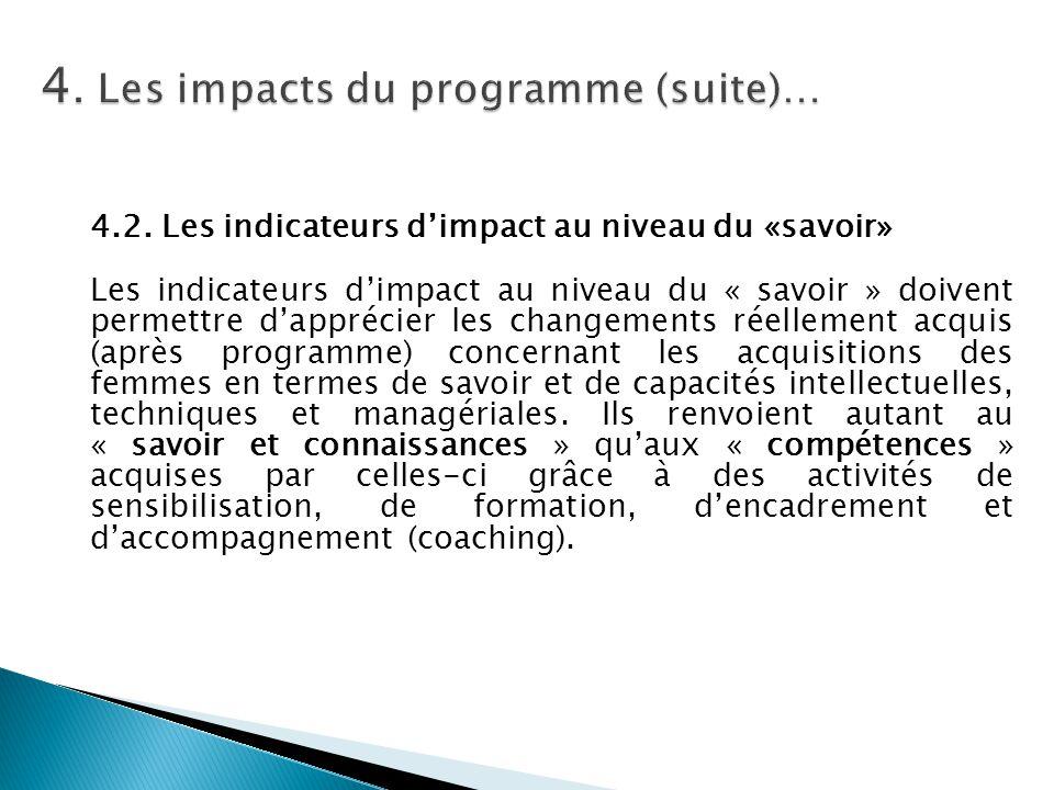 4.2. Les indicateurs d'impact au niveau du «savoir» Les indicateurs d'impact au niveau du « savoir » doivent permettre d'apprécier les changements rée