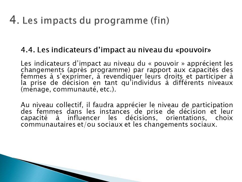 4.4. Les indicateurs d'impact au niveau du «pouvoir» Les indicateurs d'impact au niveau du « pouvoir » apprécient les changements (après programme) pa