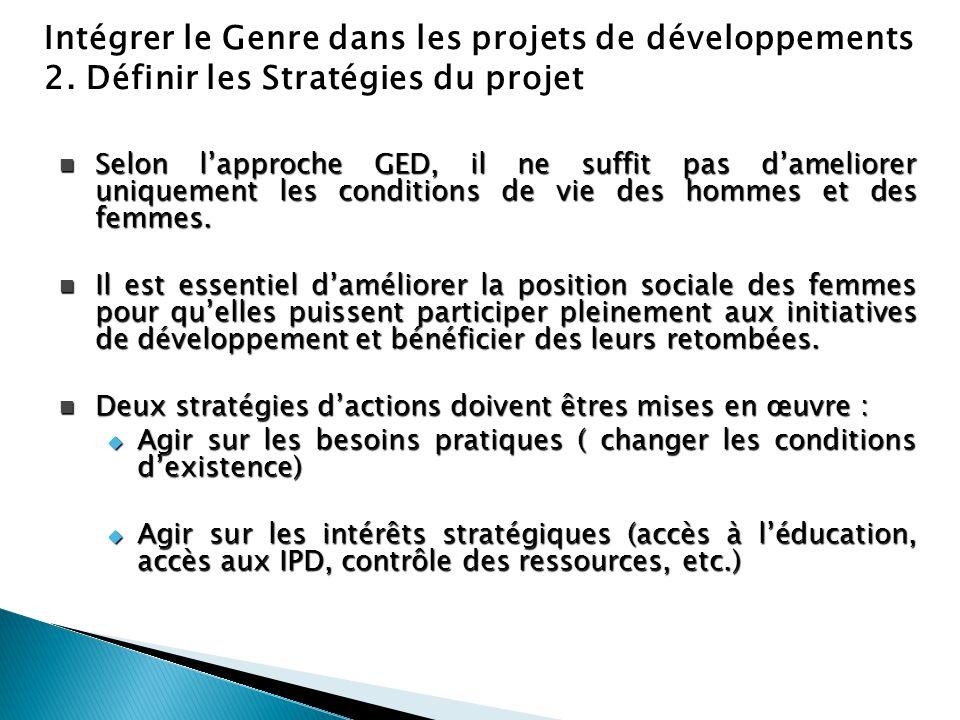 Intégrer le Genre dans les projets de développements 2. Définir les Stratégies du projet Selon l'approche GED, il ne suffit pas d'ameliorer uniquement