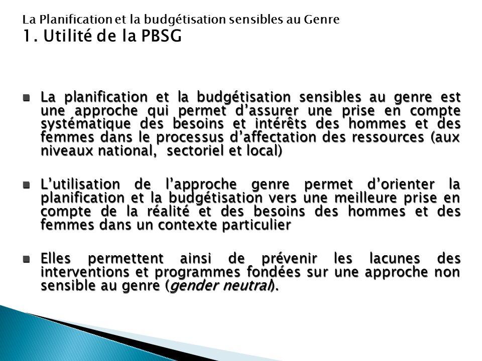 La Planification et la budgétisation sensibles au Genre 1. Utilité de la PBSG La planification et la budgétisation sensibles au genre est une approche