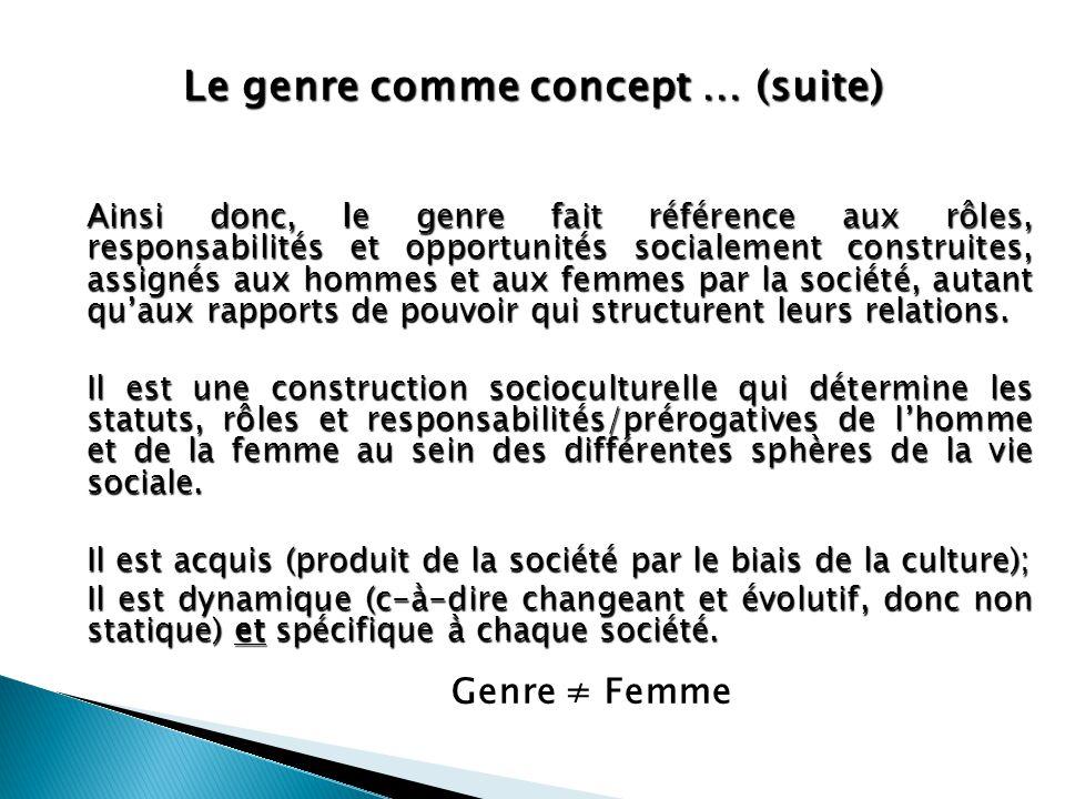 Le genre comme concept … (suite) Ainsi donc, le genre fait référence aux rôles, responsabilités et opportunités socialement construites, assignés aux
