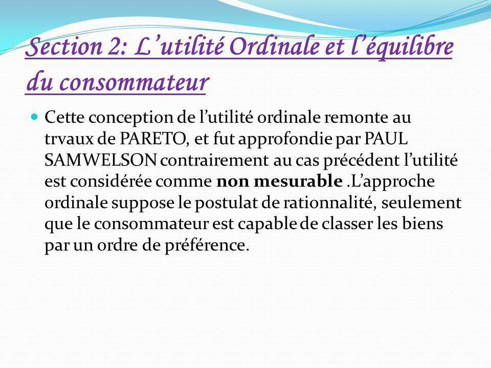 Section 2: L'utilité Ordinale et l'équilibre du consommateur Cette conception de l'utilité ordinale remonte au trvaux de PARETO, et fut approfondie pa