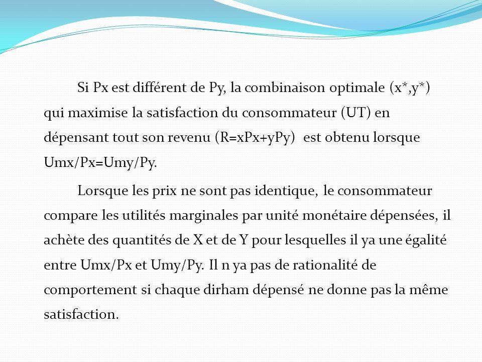 Si Px est différent de Py, la combinaison optimale (x*,y*) qui maximise la satisfaction du consommateur (UT) en dépensant tout son revenu (R=xPx+yPy)