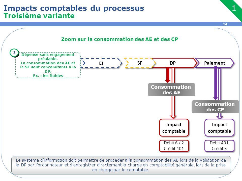 14 Zoom sur la consommation des AE et des CP Dépense sans engagement préalable. La consommation des AE et le SF sont concomitants à la DP. Ex. : les f