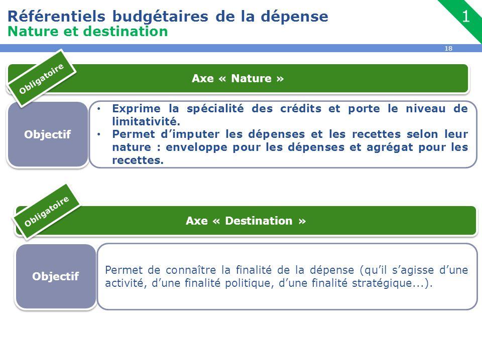 18 Référentiels budgétaires de la dépense Nature et destination 1 Objectif Exprime la spécialité des crédits et porte le niveau de limitativité. Perme