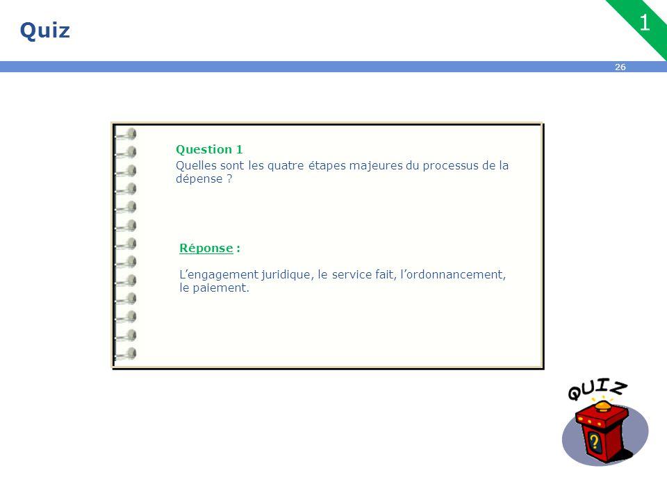 26 Quiz Question 1 Quelles sont les quatre étapes majeures du processus de la dépense ? Réponse : L'engagement juridique, le service fait, l'ordonnanc