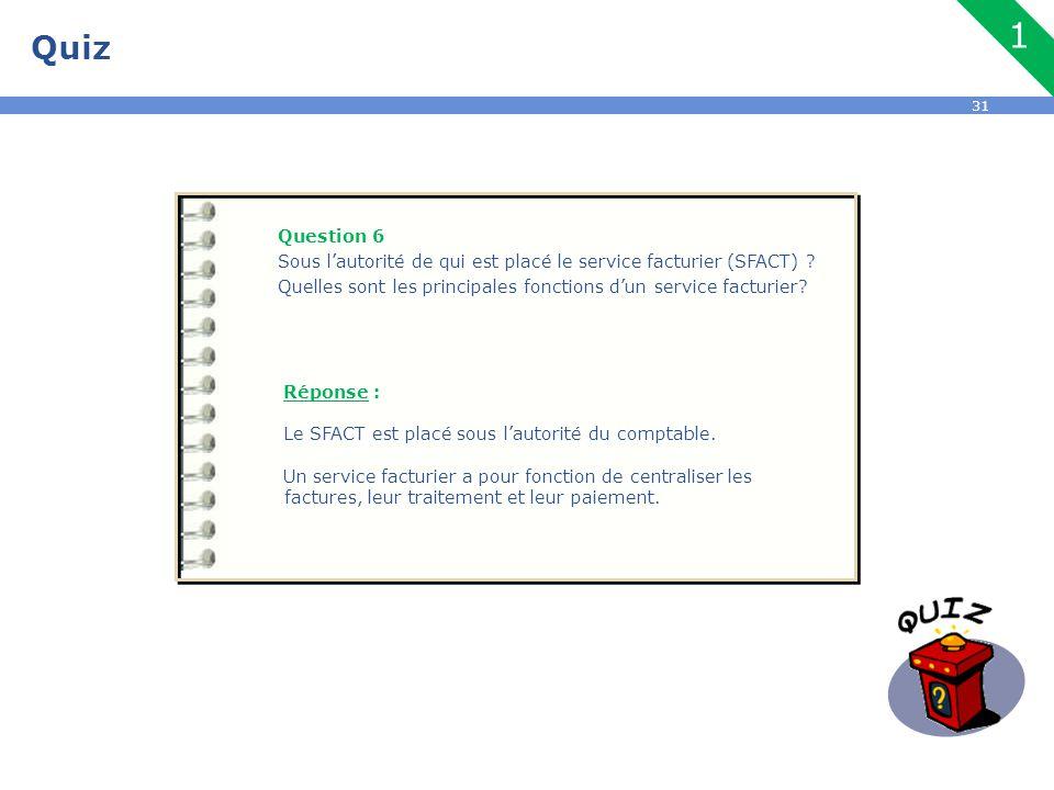 31 Quiz Question 6 Sous l'autorité de qui est placé le service facturier (SFACT) ? Quelles sont les principales fonctions d'un service facturier? Répo
