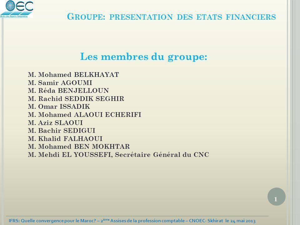 1 IFRS: Quelle convergence pour le Maroc? – 2 ème Assises de la profession comptable – CNOEC- Skhirat le 24 mai 2013 G ROUPE : PRESENTATION DES ETATS