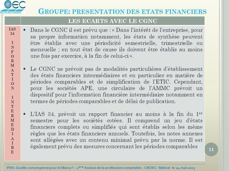 11 IFRS: Quelle convergence pour le Maroc? – 2 ème Assises de la profession comptable – CNOEC- Skhirat le 24 mai 2013 G ROUPE : PRESENTATION DES ETATS