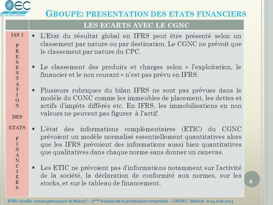 6 IFRS: Quelle convergence pour le Maroc? – 2 ème Assises de la profession comptable – CNOEC- Skhirat le 24 mai 2013 G ROUPE : PRESENTATION DES ETATS