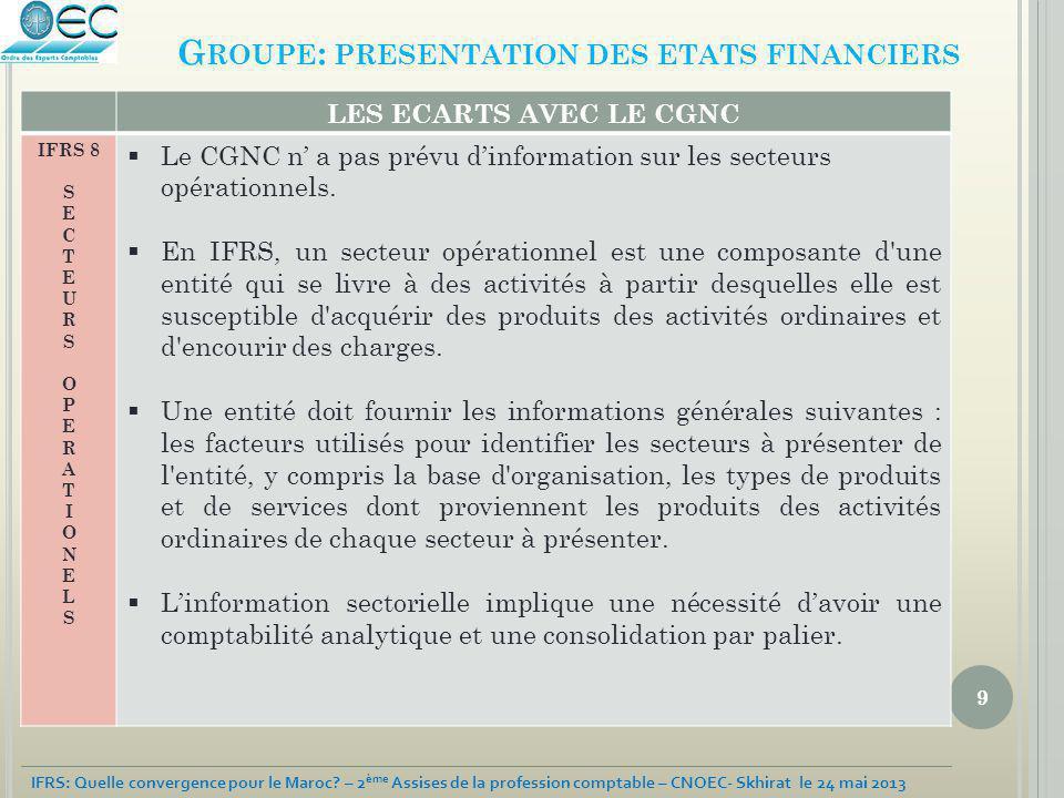 9 IFRS: Quelle convergence pour le Maroc? – 2 ème Assises de la profession comptable – CNOEC- Skhirat le 24 mai 2013 G ROUPE : PRESENTATION DES ETATS