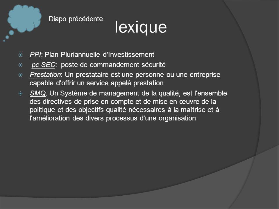 lexique  PPI: Plan Pluriannuelle d'Investissement  pc SEC: poste de commandement sécurité  Prestation: Un prestataire est une personne ou une entre
