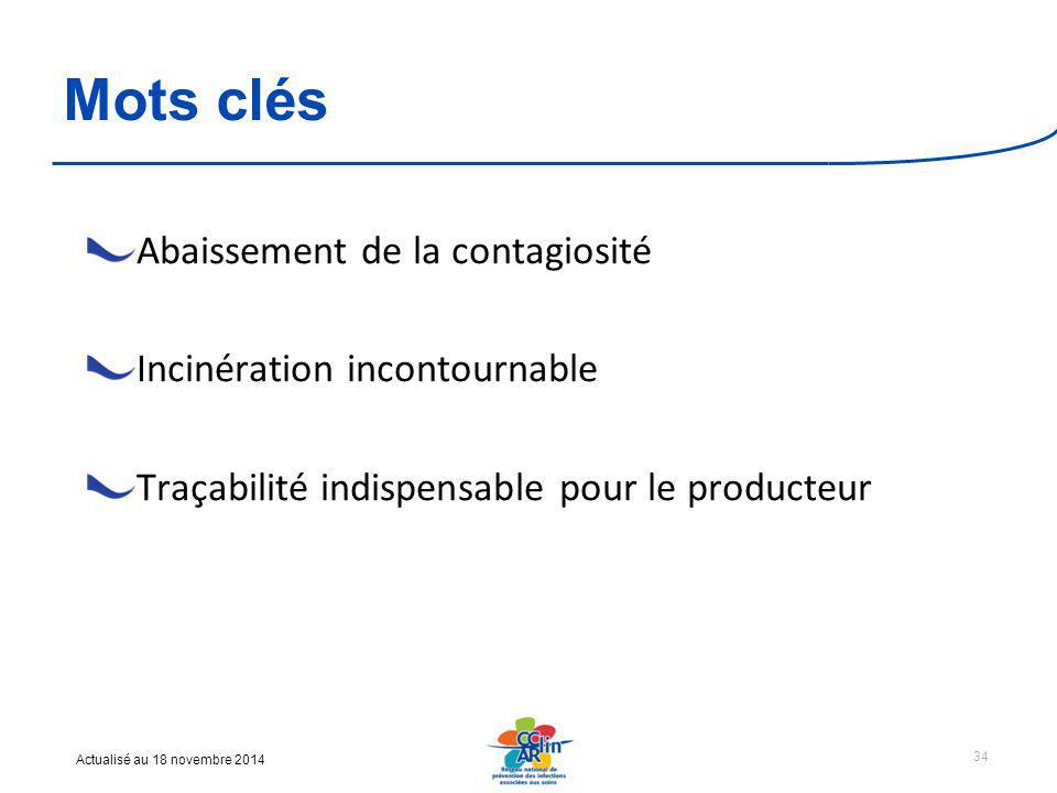 Actualisé au 18 novembre 2014 Mots clés Abaissement de la contagiosité Incinération incontournable Traçabilité indispensable pour le producteur 34