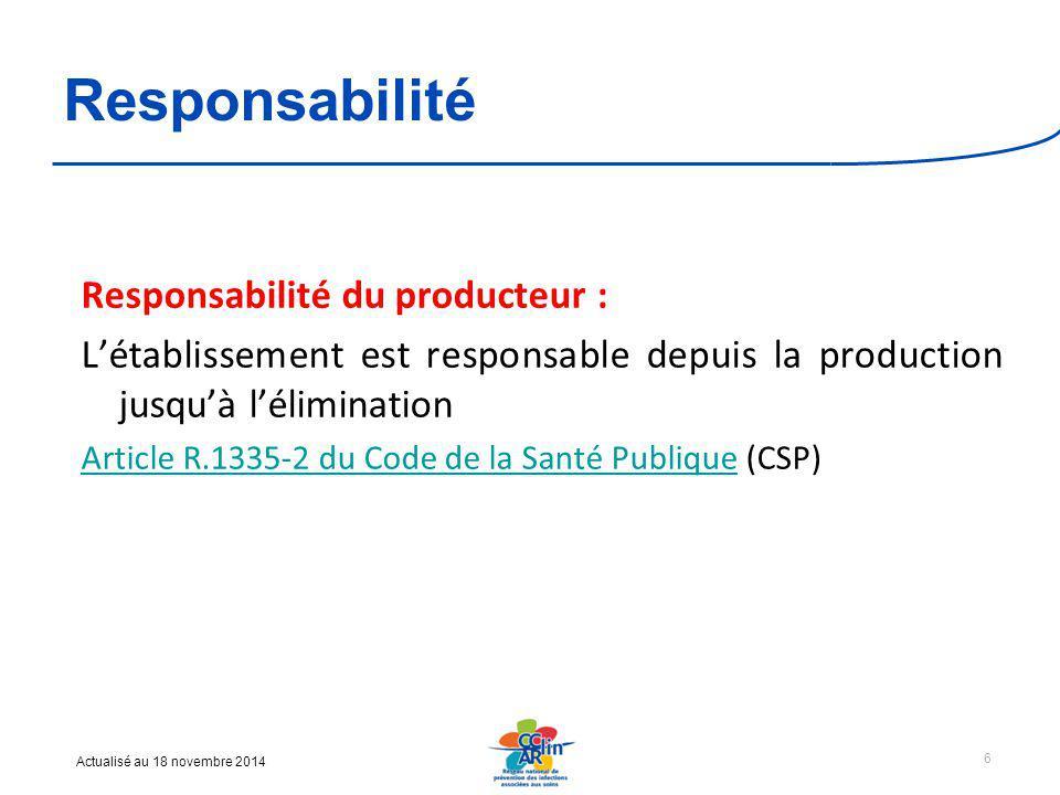 Actualisé au 18 novembre 2014 Responsabilité Responsabilité du producteur : L'établissement est responsable depuis la production jusqu'à l'élimination Article R.1335-2 du Code de la Santé PubliqueArticle R.1335-2 du Code de la Santé Publique (CSP) 6