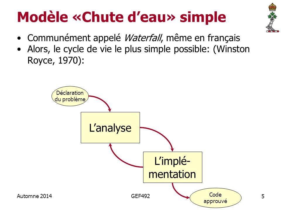 5 Automne 2014GEF492 Modèle «Chute d'eau» simple Communément appelé Waterfall, même en français Alors, le cycle de vie le plus simple possible: (Winston Royce, 1970): L'analyse L'implé- mentation Code approuvé Déclaration du problème