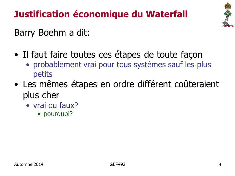 9 Automne 2014GEF492 Justification économique du Waterfall Barry Boehm a dit: Il faut faire toutes ces étapes de toute façon probablement vrai pour tous systèmes sauf les plus petits Les mêmes étapes en ordre différent coûteraient plus cher vrai ou faux.