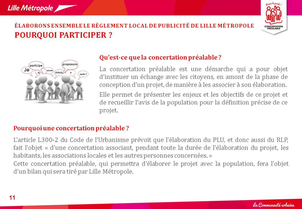 11 Qu'est-ce que la concertation préalable ? La concertation préalable est une démarche qui a pour objet d'instituer un échange avec les citoyens, en