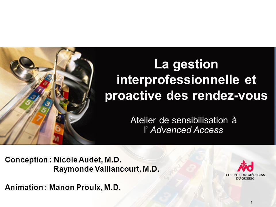 La gestion interprofessionnelle et proactive des rendez-vous Conception : Nicole Audet, M.D.