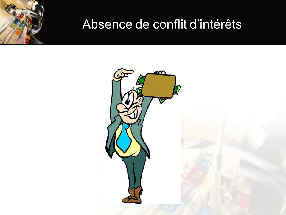 Absence de conflit d'intérêts