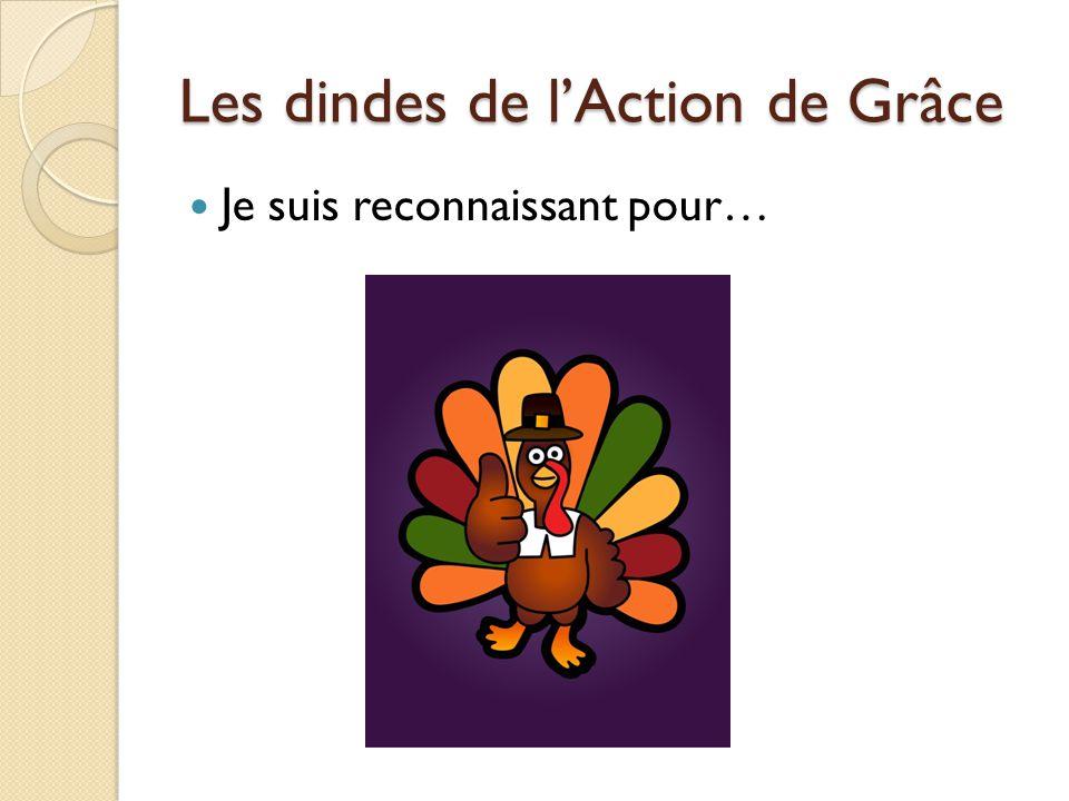 Les dindes de l'Action de Grâce Je suis reconnaissant pour…