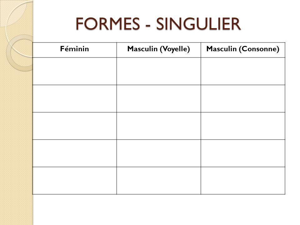 FémininMasculin (Voyelle)Masculin (Consonne) FORMES - SINGULIER FORMES - SINGULIER