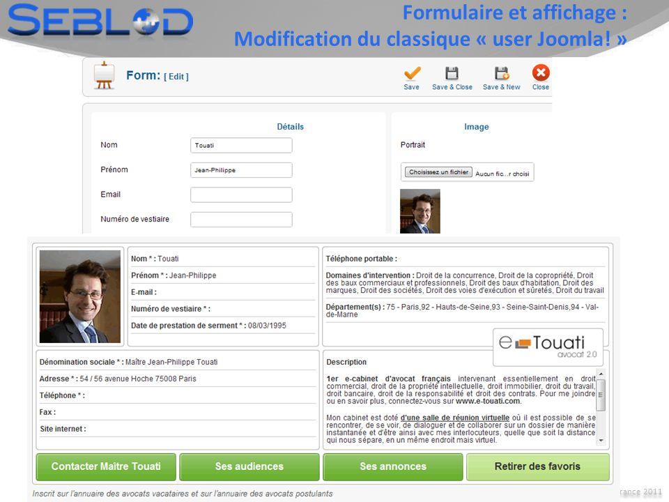 Joomla! Day France 2011 6 Avec un seul outil… Type de contenu : Fiche produit boutique de vêtements