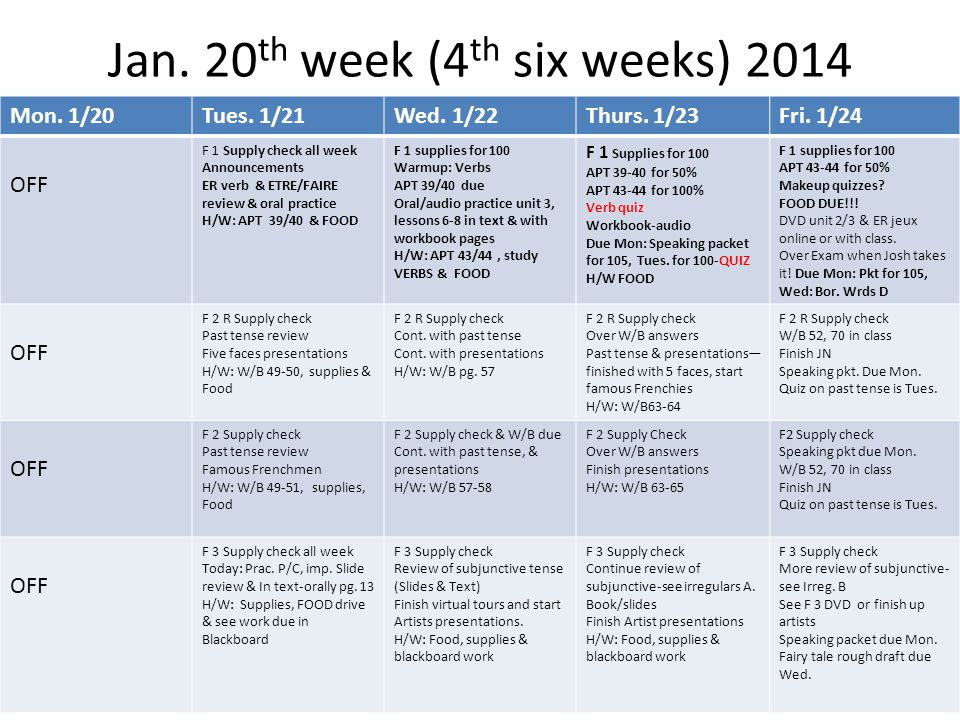 Jan. 20 th week (4 th six weeks) 2014 Mon. 1/20Tues.