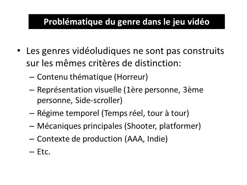 Les genres vidéoludiques ne sont pas construits sur les mêmes critères de distinction: – Contenu thématique (Horreur) – Représentation visuelle (1ère personne, 3ème personne, Side-scroller) – Régime temporel (Temps réel, tour à tour) – Mécaniques principales (Shooter, platformer) – Contexte de production (AAA, Indie) – Etc.