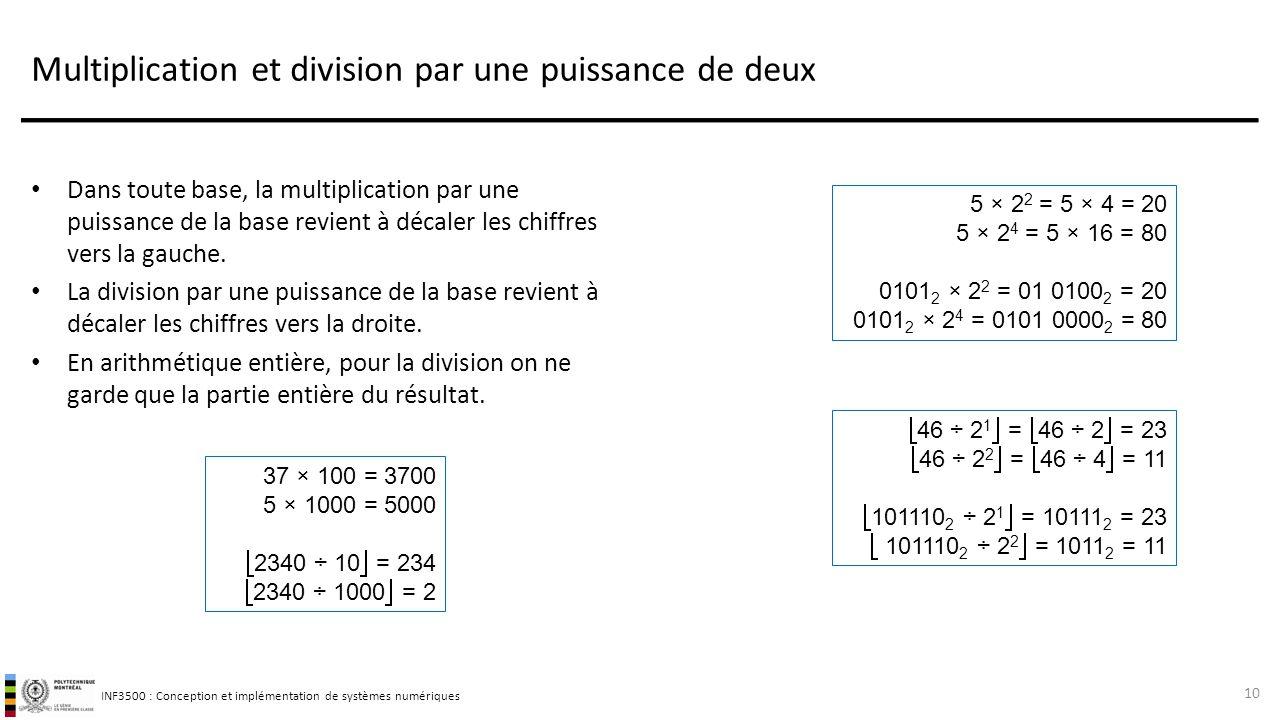 INF3500 : Conception et implémentation de systèmes numériques Multiplication et division par une puissance de deux Dans toute base, la multiplication par une puissance de la base revient à décaler les chiffres vers la gauche.